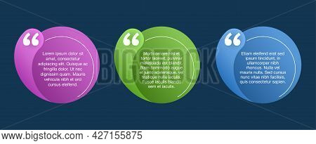 Quotes Template In Circular Colorful Frame - Decorative Text Block. Creative Quotation Marks Andcopy