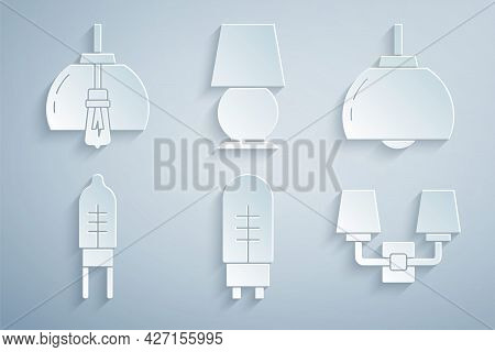 Set Light Emitting Diode, Chandelier, Wall Lamp Or Sconce, Table And Icon. Vector