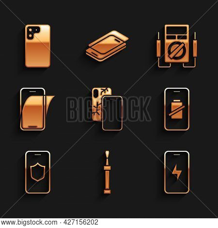 Set Mobile With Broken Screen, Screwdriver, Charging Battery, Smartphone Charge, Shield, Glass Prote
