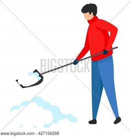 A Man Cleans Snow With A Shovel