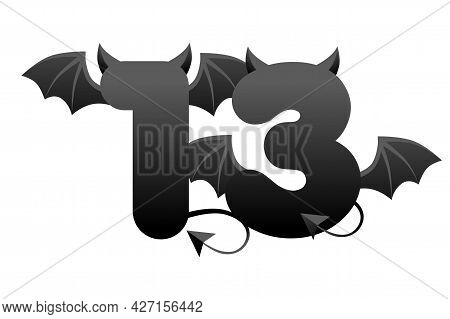 Banner Demonic Number 13, Black Figure With Wings And Horns For Ui Games.