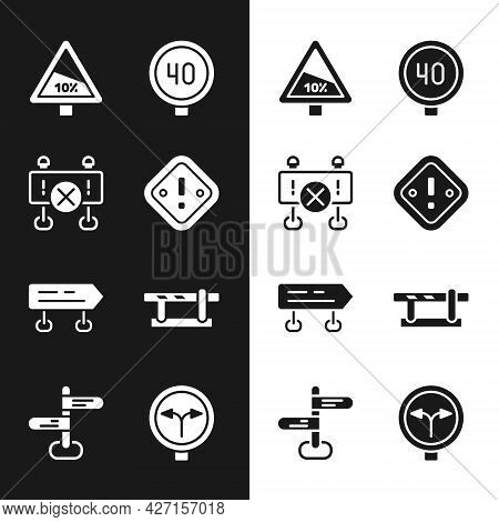 Set Exclamation Mark In Triangle, Road Barrier, Steep Ascent And Descent Road, Speed Limit Traffic,