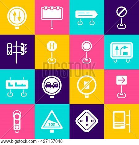 Set Road Traffic Sign, Traffic Turn Right, Hospital Road, Light, Warning Two Way And Icon. Vector