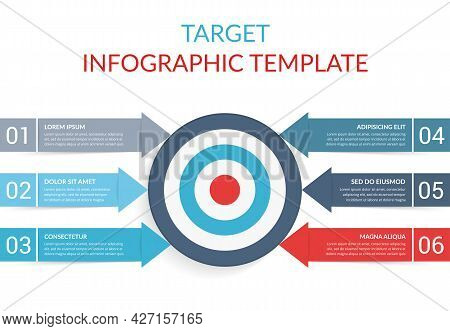 6 Steps To Your Goal Concept, Infographic Template With Target With 6 Arrows With Text And Numbers,