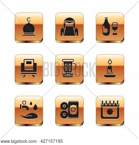 Set Muslim Mosque, Wudhu, Traditional Carpet, Medieval Goblet, Holy Book Of Koran, Wine Bottle With