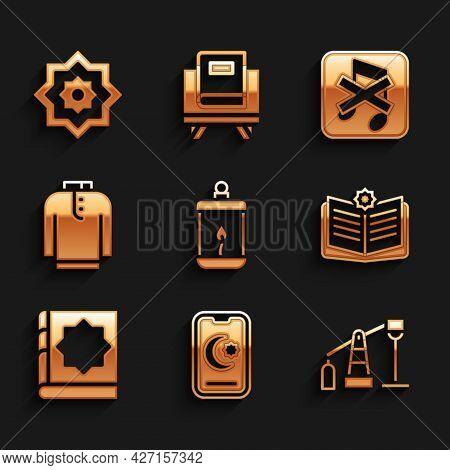 Set Ramadan Kareem Lantern, Star And Crescent, Oil Pump Or Pump Jack, Holy Book Of Koran, Shirt Kurt