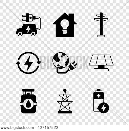 Set Electric Car, Smart House And Light Bulb, Tower, Propane Gas Tank, Battery, Recharging And Globa