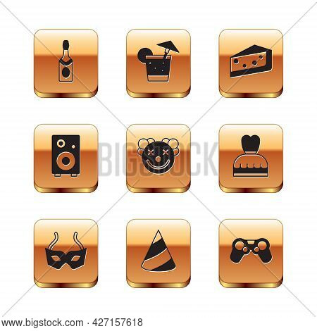 Set Champagne Bottle, Festive Mask, Party Hat, Clown Head, Stereo Speaker, Piece Of Cake, Gamepad An
