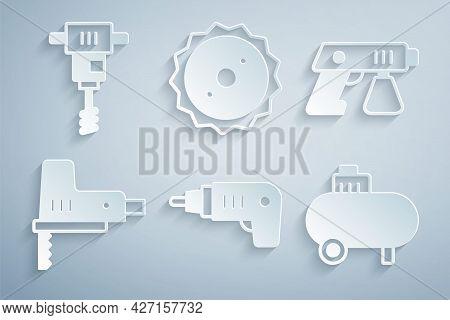 Set Electric Cordless Screwdriver, Paint Spray Gun, Jigsaw, Air Compressor, Circular Blade And Elect