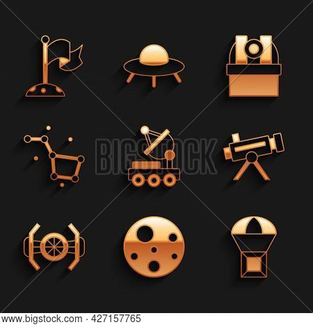 Set Mars Rover, Planet, Box Flying On Parachute, Telescope, Cosmic Ship, Great Bear Constellation, A