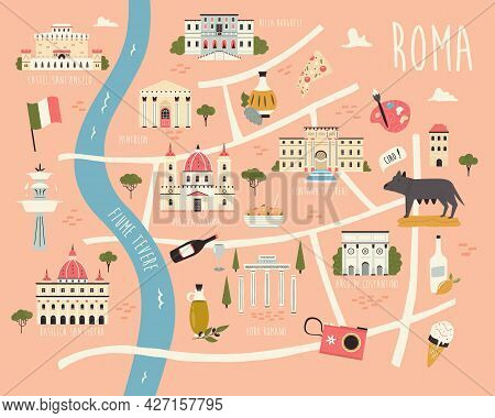 Illustrated Map Of Rome With Famous Symbols, Landmarks, Buildings.