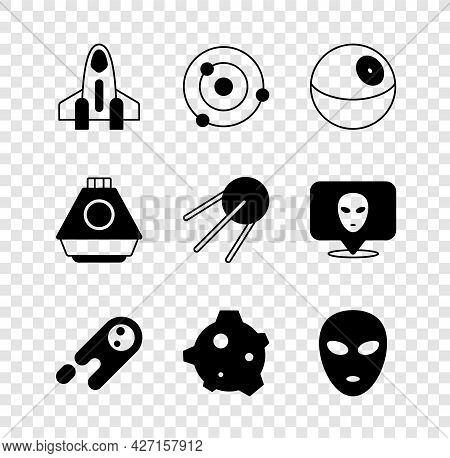 Set Rocket Ship, Solar System, Planet, Comet Falling Down Fast, Asteroid, Alien, Space Capsule And S