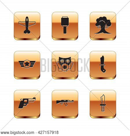 Set Plane, Pistol Or Gun, Submachine, Gas Mask, Star American Military, Nuclear Explosion, Military