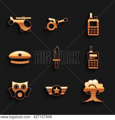 Set Military Knife, Star American Military, Nuclear Explosion, Walkie Talkie, Gas Mask, Beret, And H