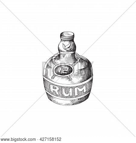 Hand Drawn Black And White Vector Illustration Of Rum Bottle Isolated On White Background.