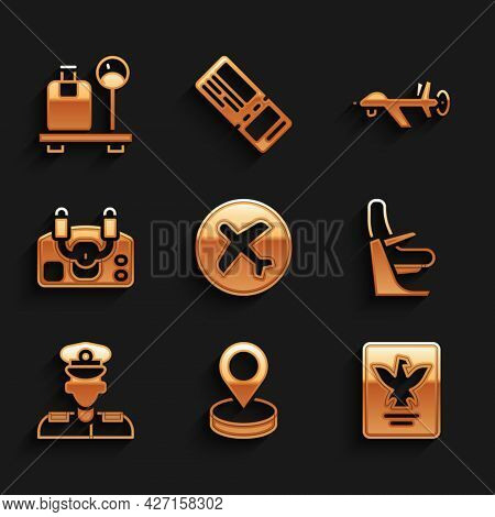 Set Plane, Location, Passport, Airplane Seat, Pilot, Aircraft Steering Helm, Uav Drone And Scale Wit