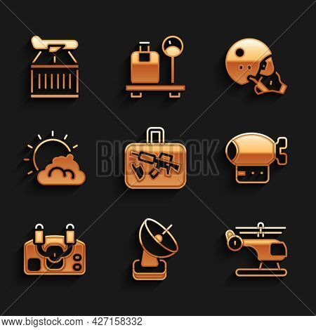 Set Suitcase, Radar, Helicopter, Airship, Aircraft Steering Helm, Sun And Cloud Weather, Modern Pilo