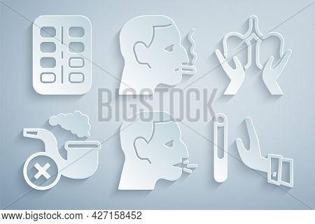 Set Man Coughing, Lungs, Smoking Pipe With Smoke, Giving Up Cigarette, Smoking And Nicotine Gum Blis