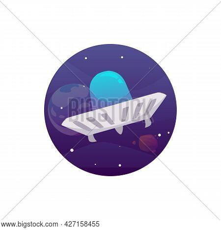 Fantasy Ufo Alien Spaceship Or Spacecraft Flat Vector Illustration Isolated.