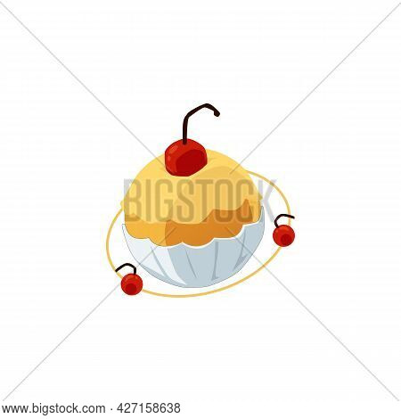 Fancy Cupcake Shaped Planet, Flat Vector Illustration Isolated On White.