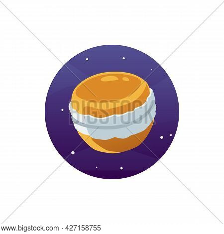 Cartoon Sweet Planet Biscuit Cake With Cream In Space A Vector Illustration.