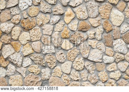 Stone Wall Background, Beige Cobblestones, Abstract Rocks Texture, Mineral Pavement, Light Brick Wal