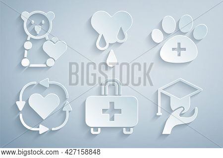 Set First Aid Kit, Veterinary Clinic, Volunteer, Education Grant, Blood Donation And Donate Child To