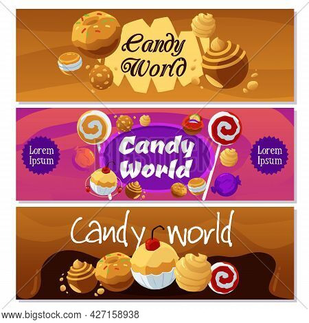 Set Of Backgrounds Of Caramel And Fruity Candy World, Flat Vector Illustration.