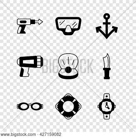 Set Fishing Harpoon, Diving Mask, Anchor, Glasses For Swimming, Lifebuoy, Watch, Flashlight Diver An