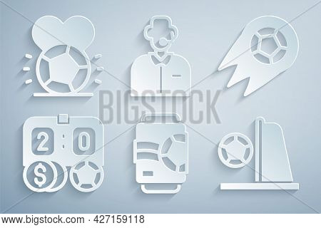Set Beer Can, Soccer Football Ball, Football Betting Money, Goal With, Or Soccer Commentator And Ico