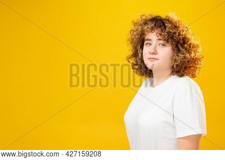 Overweight Woman. Self Confidence. Positive Self-image. Peaceful Calm Plus Size Girl With Curly Hair