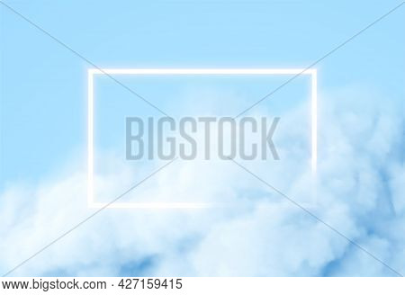 Abstract Rectangle Neon Frame On Blue Smoke Background. Vector Glowing Light Lines. Dark Neon Backgr