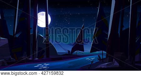 Night Forest With River And Mountains. Nature Wood Landscape With Moonlight And Stars Reflecting On