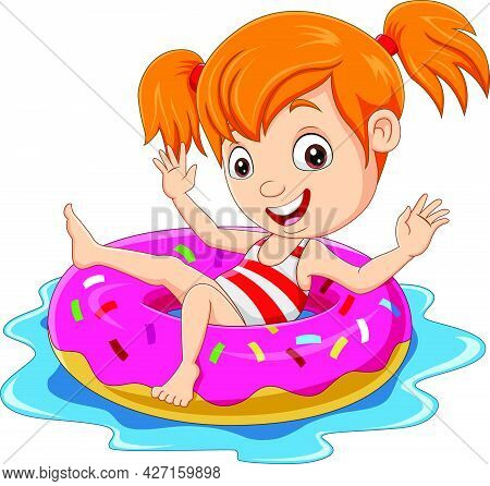 Vector Illustration Of Cartoon Little Girl Floating With Inflatable Ring