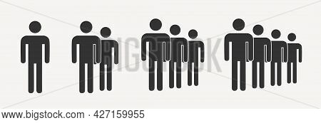 Simple Crowd Icon, Group Of People Silhouettes Standing In Rows Set