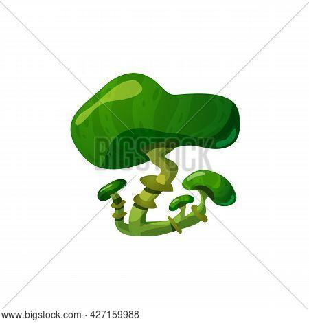Green Fantasy Mushroom Or Toadstool Fungus, Flat Vector Illustration Isolated.