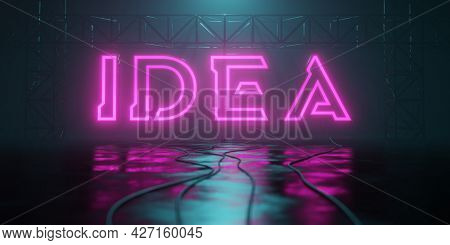 a typical neon light idea sign 3D illustration