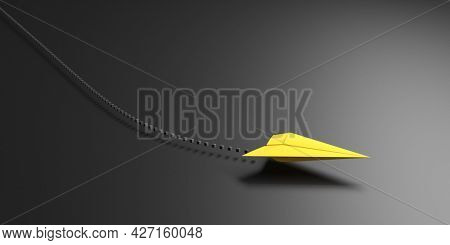 A yellow paper plane with dotted line. 3D illustration