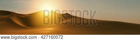 A desert dune sunset wide background banner. 3D illustration