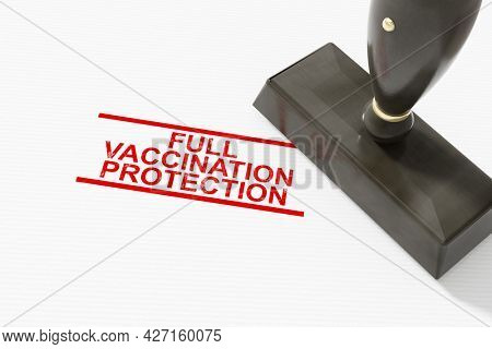 A full vaccination protection stamp. 3D illustration
