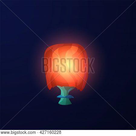 Glowing Luminous Magic Fantasy Mushroom, Flat Vector Illustration Isolated.