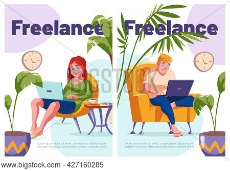 Freelance Cartoon Posters, Relaxed Freelancers Characters Work From Home Distantly. Remote Outsource