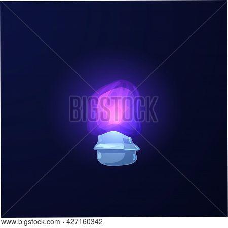 Luminescent Colors Shiny Mushroom Plant, Flat Vector Illustration Isolated.