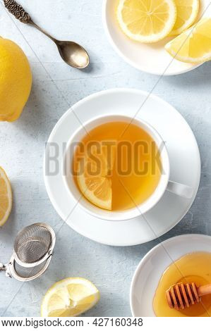 Lemon Tea And Honey, Shot From Above. Natural Remedy. Healthy Morning Drink
