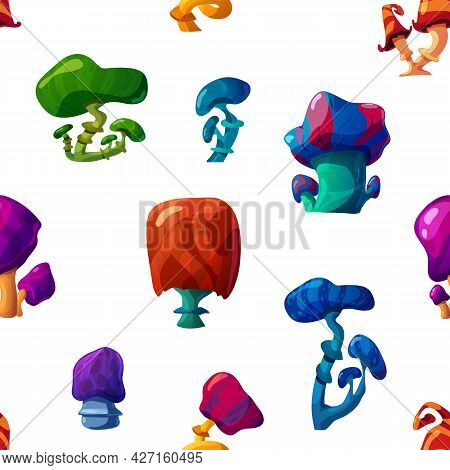 Vector Colorful Seamless Pattern With Unusual Fantasy Psychedelic Mushrooms.