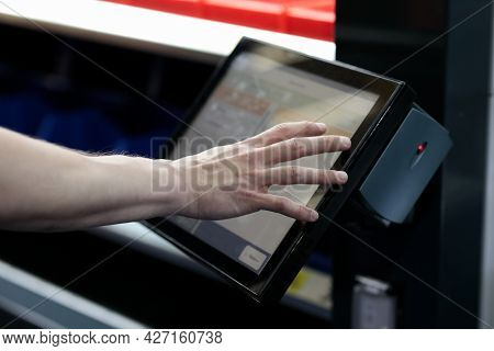 Remote Touchscreen Control Panel Of Industrial Equipment. Selective Focus.