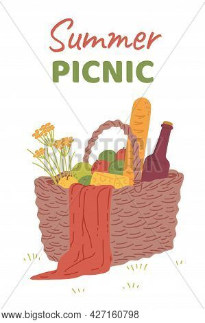 Summer Picnic Party Banner Template With Food Basket, Flat Vector Illustration.