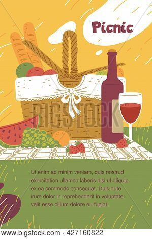 Vector Illustration Isolated On White Bpicnic Party Banner With Basket And Copy Space, Flat Vector I