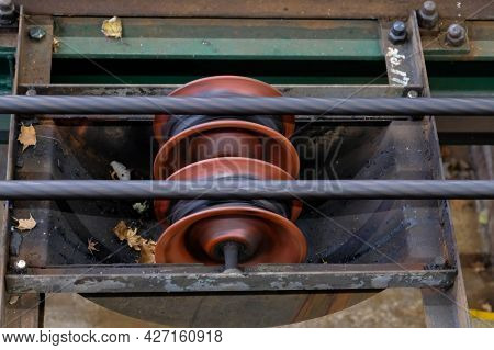 Close Up Funicular Railway Pulley Wire Cable Rope Of Lifting In Line ,using In Tram And A Cable Car