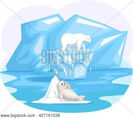 Seal And Polar Bear On Top Of Ice Floe. Wild Animals Need Help On Melting Glacier In Antarctica. Fur